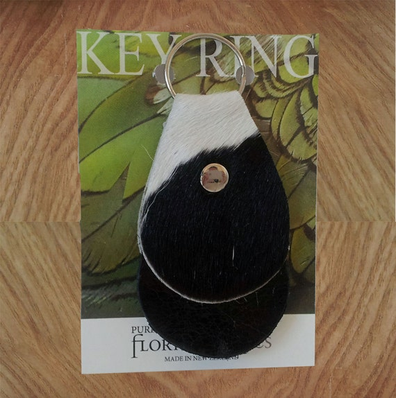 Leather Key Chain/ Key Ring made for natural black and white cowhide and leather
