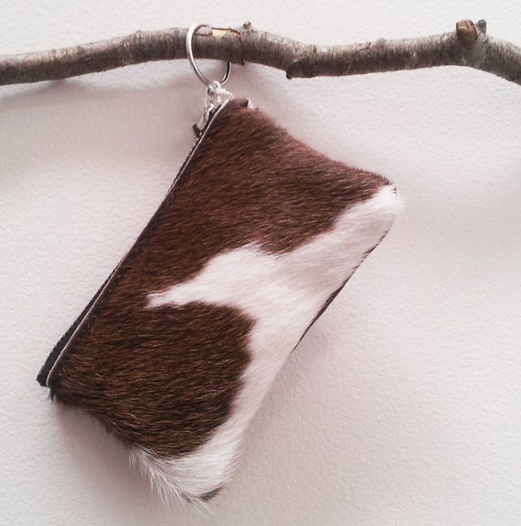 Cowhide purse - Light Brown/White, Natural Hairon cowhide pouch