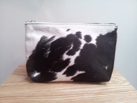 Large Cowhide Purse (pouch) black and white - pony hair - New Zealand Cowhide