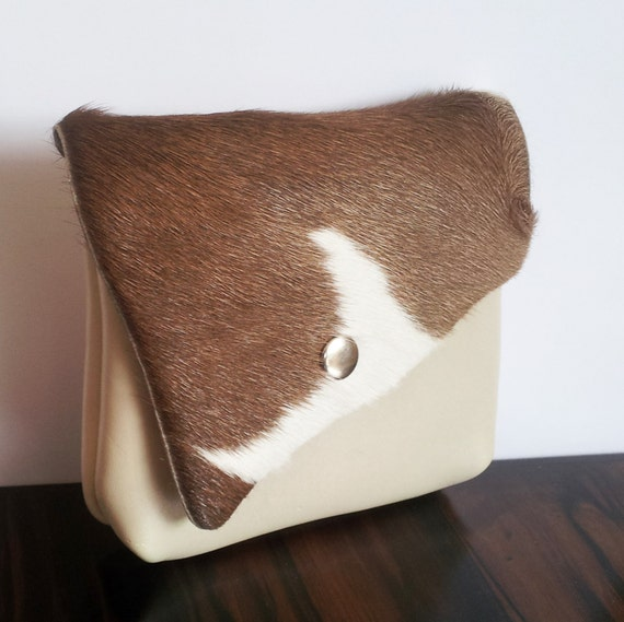 Cowhide Leather purse with flap, brown and cream, for coins, cardholder, lipstick and make up purse.