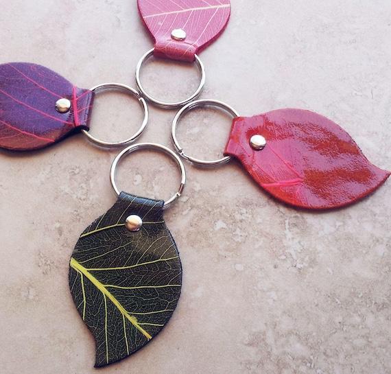 Leather Key Chain/ Key Ring Pack - Leaf Shape