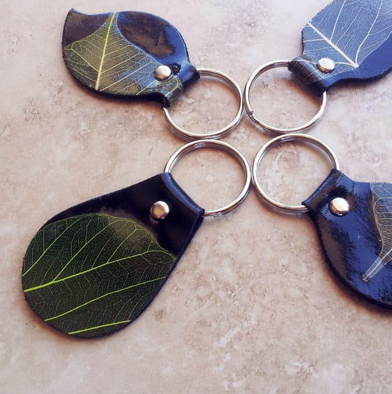 Leather Key Chain/ Key Ring Pack - Mixed Shapes in one Colour