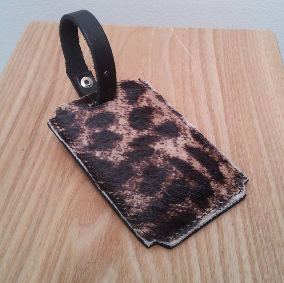 Leopard Leather Luggage Tag - Unique Rockabilly Travel Accessory - Cowhide - pony hair