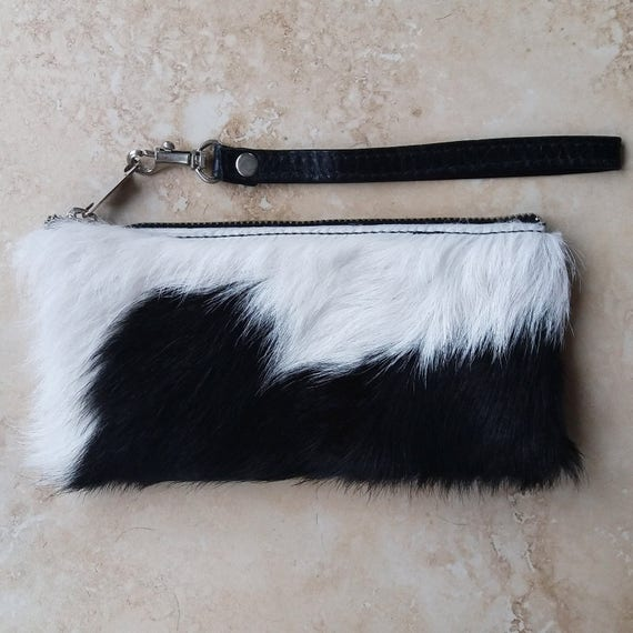 Black/ White Cowhide Wallet with card slots, phone pocket and wristlet strap - black leather travel purse with red and grey interior