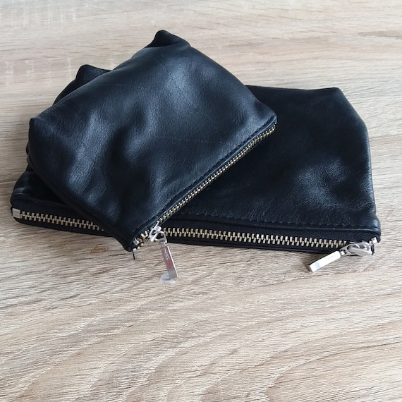 2 x Black leather purses (pouch), toiletry bags