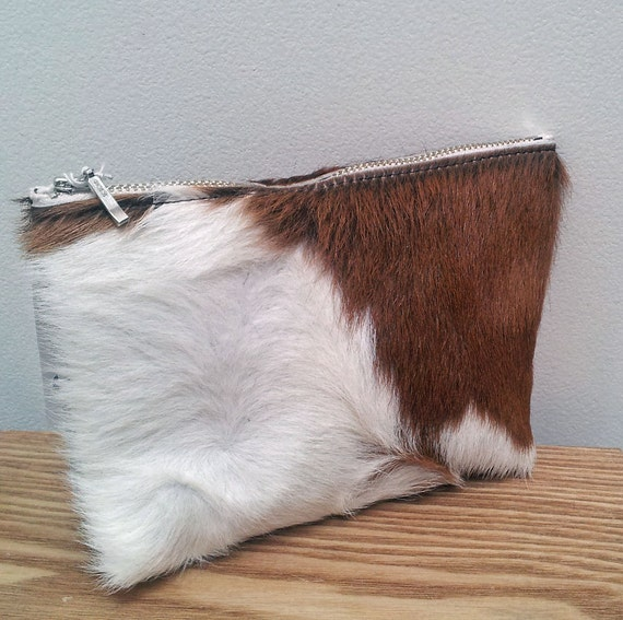 Large Cowhide leather purse (pouch) tan and white