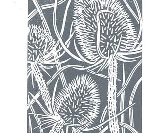 Teasel charcoal grey Handmade Linocut Print