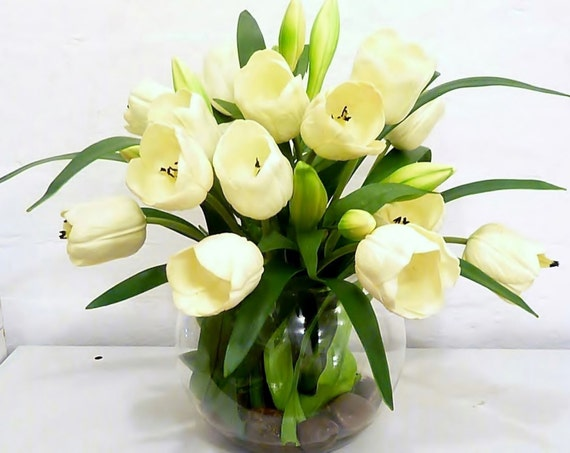 Items Similar To Real Touch White Tulip Artificial Flower ...