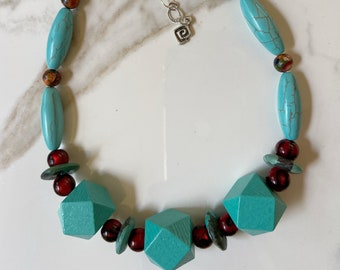 Bright Turquoise Block Necklace
