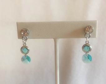 Turquoise Blue Dangly Crystal Earrings