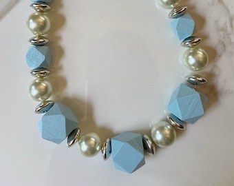 Pale Blue Block Necklace