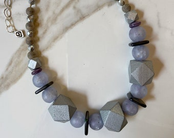 Silver Wood Block Necklace
