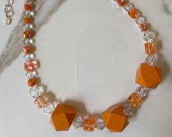Orange Block Necklace