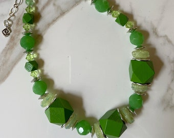 Kelly Green Block Necklace