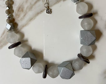 Silver Wood Block Necklace with White