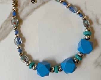 Bright Blue Block Necklace