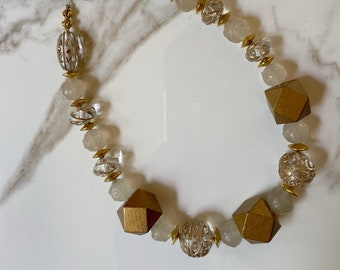 Gold Wood Block Necklace