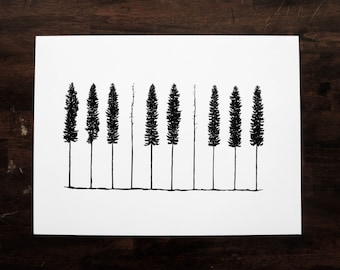 Piano Pines 12x16 One Color Screenprint Poster