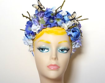 Mixed Flower and Butterfly Head Band