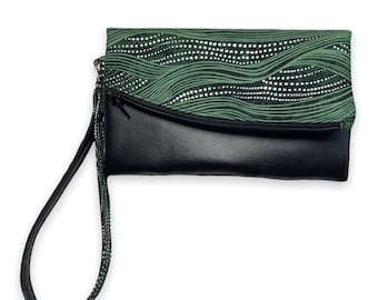 Handmade Tri-Fold Phone Wallet, Foldover Clutch Wallet, Wallet Wristlet, 16 card slots, Zipper Pouch, 2 Slip Pockets