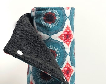 Unpaper Towels // Reusable Paper Towels // Cloth Paper Towels //Snapping Towels // Kitchen Towels - Teal Mandala