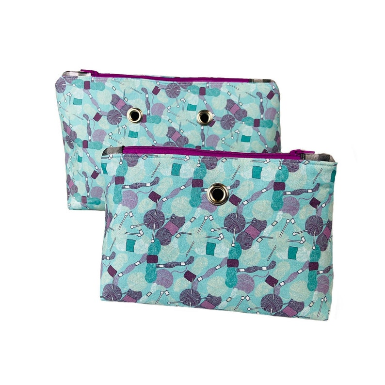 Small or Large Yarn Pouch Zippered Knitting and Crochet Bag image 0