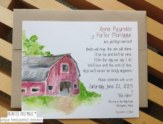 Handmade Rustic Wedding Invitations: Items Similar To Rustic Barn Wedding Invitations // Farm