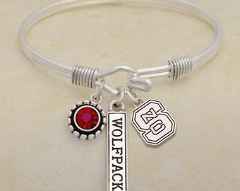 a8645ff69 North, CAROLINA, WOLFPACK, CHARM, bracelet, bangle, university, logo, name,  red, team, hook, clasp, jewelry, free shipping