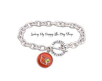 Holly Road Louisville Cardinals Silver Crystal Necklace WITH MOM CHARM Jewelry UL