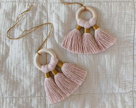 tassel charms / blush + chartreuse