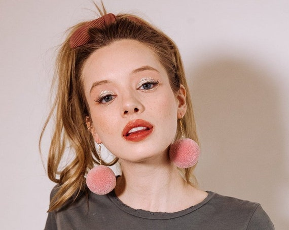 rose pom earrings