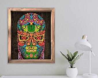 Sugar Skullminator - By CRYPTIC CRAYON- Melted Crayon Original Art, 16x20