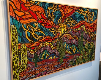 "Vision Quest - Original Melted Crayon Art - 60""x38"""