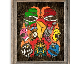 Rangers- By CRYPTIC CRAYON- Melted Crayon Original Art on Wood, 16x20