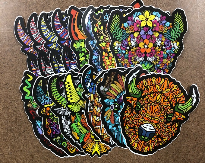 Featured listing image: Set of 15 - Buffalo Themed Die Cut Sticker