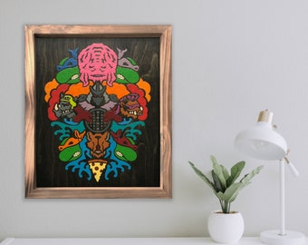 Evolution - By CRYPTIC CRAYON- Melted Crayon Original Art on Wood, Ninja Turtles, 16x20