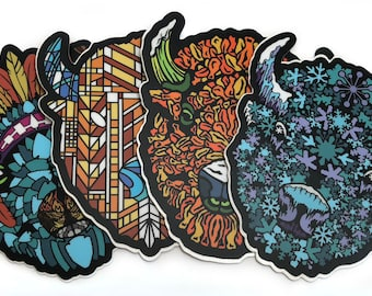 4 pack Die Cut Buffalo Head Stickers - Series 1