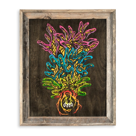Bright Idea - by Cryptic Crayon - 16x20 melted crayon art