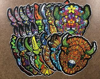 Set of 15 - Buffalo Themed Die Cut Sticker
