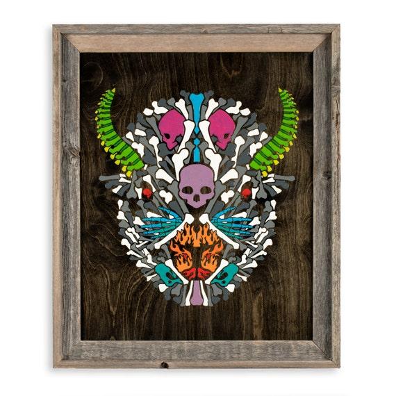 Bonefalo - By CRYPTIC CRAYON- Melted Crayon Original Art, 16x20
