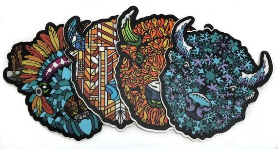 4 pack Die Cut Buffalo Head Stickers - Series 1
