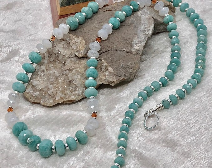 Featured listing image: 30 inch Amazonite Handcrafted Graduated Rondelle Necklace w Chalcedony Faceted Rondelle Beads, Swarovski Crystals, Sterling Beads, Toggle