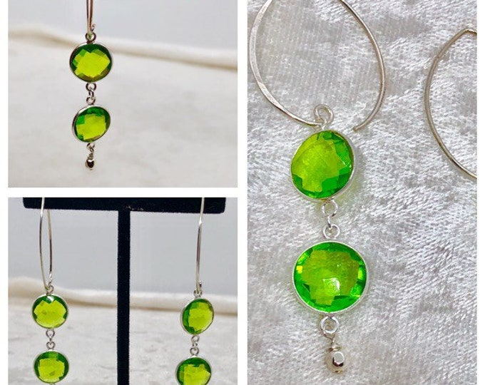 Featured listing image: Handcrafted Peridot and Sterling Silver Earrings, Modern, Sexy, Sophisticated