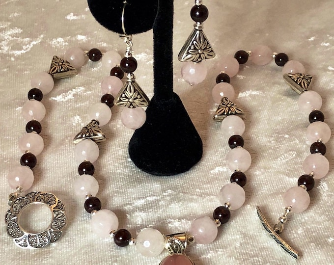 Featured listing image: 3 pc Rose Quartz, Garnet, Sterling Silver, Necklace, Bracelet, Earrings with Sterling Floral Beads, Filigree Toggle Clasps, Pendant