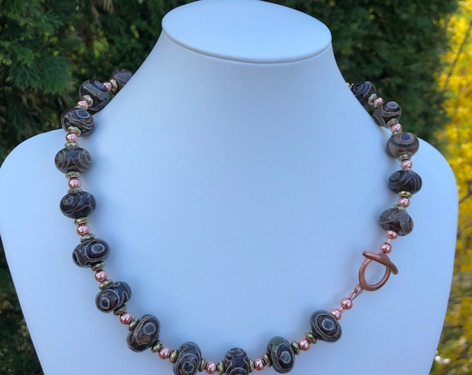 Featured listing image: Eye Agate Handcrafted Necklace, Gold Pyrite Faceted Rondelle Beads, Copper Beads 5mm, Copper Toggle Clasp