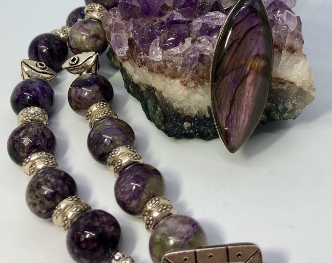 Featured listing image: Charoite Necklace, Grade A 16mm Beads, Rondelle Sterling Silver Spacers, Purple Labradorite Pendant set in Sterling Silver, Sterling Toggle