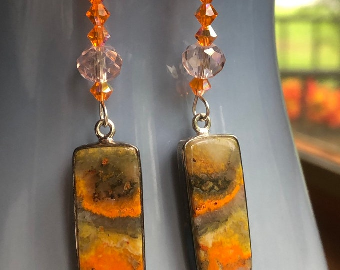 Featured listing image: Bumblebee Jasper Handcrafted with Swarovski Crystal Beads, Sterling Silver Ear Wire Hooks