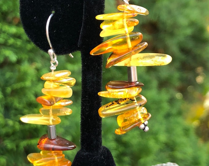 Featured listing image: Baltic Amber, Hematite and Sterling Handcrafted Dangle Earrings, Sterling Silver Ear Wire Hooks, Sterling Eye Pins. 2 inches in height