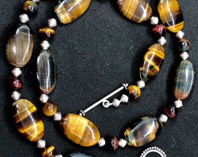 Featured listing image: Tigers Eye Handcrafted Necklace, Grade A Beads, Puffy Oval Beads, Round 10mm beads, Sterling Silver Beads, Sterling Silver Toggle Clasp