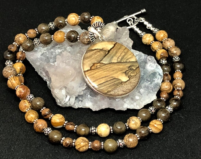 Featured listing image: Picture Jasper Handcrafted Necklace, Picture Jasper Beads, Greenwood Silk Beads, Agar Wood Beads, Sterling Toggle Clasp 18mm, Sterling Silve